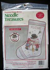 "Snow Day Stocking Cross Stitch Kit Needle Treasures 16"" Ruth Morehead 02838"