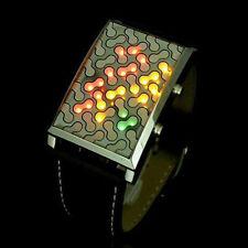 Colorful Futuristic Digital LED Dial Black PU Leather Mens Casual Wrist Watch