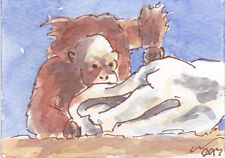 ACEO Art Card Orangutan Boo! Original Watercolour Painting with ink Animals