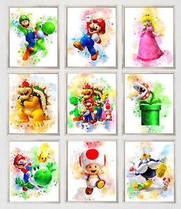 Super Mario Print Watercolour Disney Wall Art Childrens Bedroom A3 A4 A5