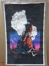 Vintage Mini Velvet Black Light Poster 70's flocked 11x17 Spanish Ship Peace G03