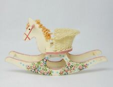 Vintage Pink Rocking Horse Wicker Nursery Toy Artisan Dollhouse Miniature 1:12
