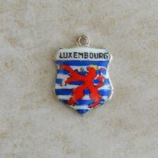 Luxembourg Europe Travel Shield Vintage Silver Bracelet Charm Enamel 800