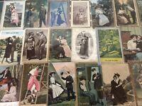 Lot of 25 Early / Vintage Couples & Romance Romantic~Men & Women~Postcards--a919