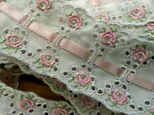 """5 YDS LOT~1970's Broderie Anglaise Trim Edging Braid~2&1/4""""=56MM~Pink~Made in UK"""