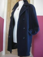 Ladies NUAGE double breasted cashmere blue WOOL GREAT COAT size UK 14 military