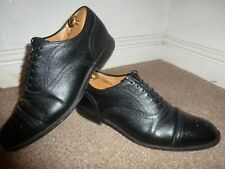 MENS UK 8.5 F CHURCH'S BLACK LEATHER DIPLOMAT CAP TOE DERBY GIBSON SUIT SHOES 85