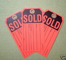 100 red sold tags w/ knife slit heavy duty merchandise auction sale paper labels