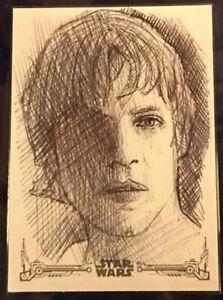 Star Wars Artist Sketch Card 1/1 by Andrew Fry LUKE SKYWALKER Mark Hamill