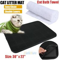Double-Layer Cat Litter Box Mat Trapper Foldable EVA Pad Pet Foam Rubber Rug US