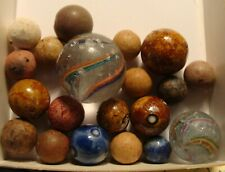 20 Marbles Antique Vintage Germany Glass Candy Swirls Clay Bennington Early Toys
