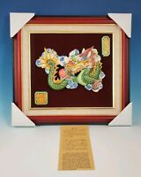 "NIB KOJI 3 Color Glazed Chinese Pottery Dragon Wall Hanging 16""L×1-1/2""Wx15""H"