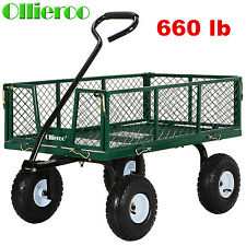 Heavy Duty Wagon Cart Utility Wheelbarrow Lawn  Dump Trailer Yard Garden Steel