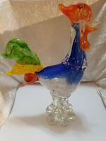 "Vintage Murano Art Glass Colorful 11"" Rooster Chicken"