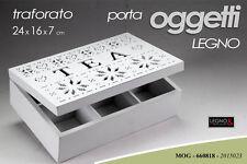 COFANETTO PORTA THE LEGNO TRAFORATO BIANCO TEA 24*16*7CM MOG 660818