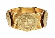 NEW $1450 DOLCE & GABBANA Bracelet MONETE Gold Brass SICILY Coin Wide Bangle