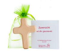 Handschmeichler ULJOE Kreuz Holz Buche Glatt Hellbraun Fisch Spruch Rot 60x40x13