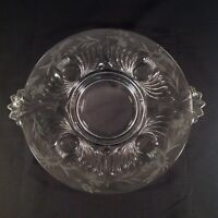 Round Clear Glass Etched Footed Serving Platter