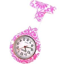 Nurse Silicone Tunic Watch Brooch Fob in Floral WHIRLS Print With One Extra Batt