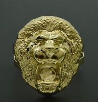 Real Solid 10K Yellow Gold Men's Lion Head  Ring