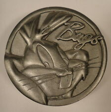 Bugs Bunny Profile Round Trinket Box w/ Lid Carrots Solid Pewter Metal