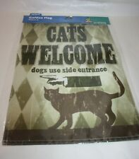 "Cats Welcome Dogs Use Side Door Entrance Flag Banner Door Sign 12"" x 18"" Top Paw"