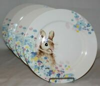 "Ciroa Bunny Rabbit Spring Floral Porcelain 10 1/2"" Dinner Plates Set of Four New"