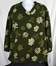 Woolrich Green Leaf Polyester V-Neck Thick Fleece Pullover Women's Medium M C92