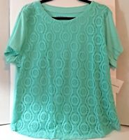 Croft Barrow Womens Top XL Short Sleeve Lace Front Tee New