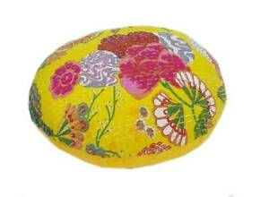 """20"""" Indian Handmade Kantha Round Home Décor Yellow Floor Cushion Covers Pet Bed"""