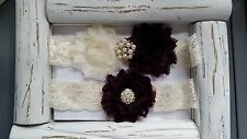 Wedding Garter Set, Ivory/Eggplant Purple Flower Garter Set, Ivory Lace