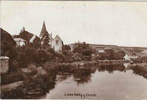 LOOSE VALLEY & CHURCH, 1909 REAL PHOTO KENT POSTCARD NR MAIDSTONE (ref 3121/18)