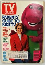Vtg TV Guide Magazine Feb 1993 Guide to Kids Barney Purple Passion Jane Pauley