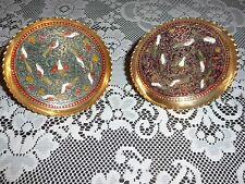 Set of 2 Decorative Brass Stand-Up Plates with a Bird Design on Each
