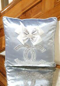 """Sparkling Crystal Sky Blue Bow Velvet Cushion Cover+Cushion Pad 18""""x18"""""""