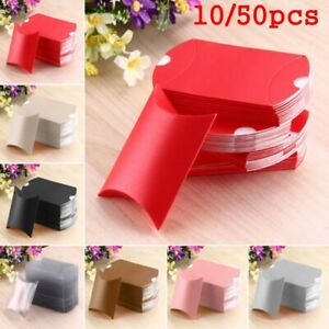 10/50pcs Pillow Shaped Christmas Paper Candy Boxes Kraft Gift Bag Wedding Party