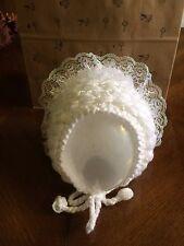Baby girl handmade crochet bonnet white with frill 0-3 mths christening/wedding/