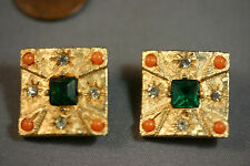 Vtg Gold tone Square Earrings clips, Faux Emerald Green Rhinestones & faux Coral