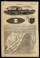 Virginia MD & DE New Boundaries! Iron Clad Eriddson 1861 Civil War Print