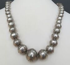 22 Inch long Old Navajo desert pearls sterling silver graduated bead necklace