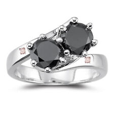 2.81 ct Black Moisanite Round & Natural Rough Diamond.925 Silver Ring