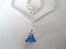 *BLUEBELL COBALT BLUE GLASS BELL FLOWER* SP Necklace 17 inch chain GIFT POUCH