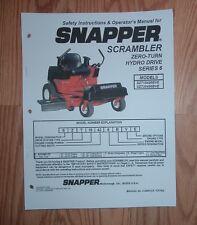 SNAPPER  SCRAMBLER ZERO TURN HYDRO DRIVE SZT18426BVE OWNERS MANUAL
