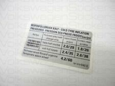 VW MK2 Golf GTI 8V Tyre Pressure Sticker 040E