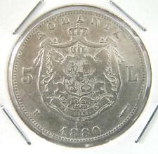 SEE!! ANTIQUE ROMANIAN 5 LEI 1880 SILVER COIN ROMANIA CAROL I ROMANIEI #R15»