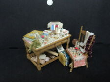 DOLLHOUSE SEWING TABLE W/ CHAIR AND ACCESSORIES