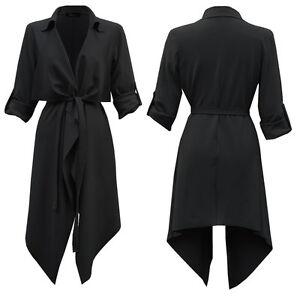 Black Womens Ladies Turn Up Sleeve Belted Waterfall Duster Blazer Coat Jacket