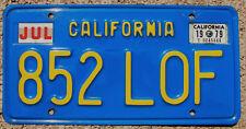 1979 CALIFORNIA License Plate 1970-87 Series CA #852-LOF