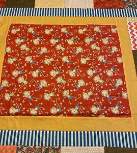 "NEW Handmade Child/Baby Quilt  35"" x 36"" Monkeys  Orange Blue Yellow Green"