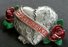 HEART BREAKER TATTOO FLOWER RED ROSES LARGE BELT BUCKLE BERGAMOT 2006 NEW USA